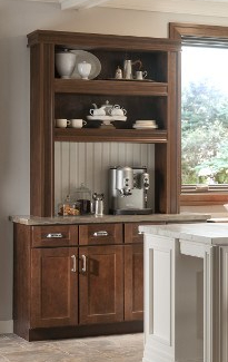 Coffee bar area built from open shelf and mouldings
