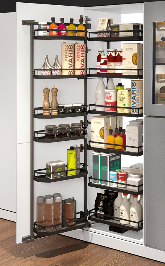 pantry system in black metal