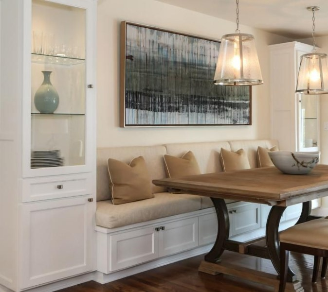 white cabinetry banquette