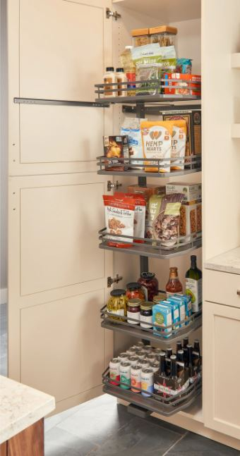 pullout system for a kitchen pantry