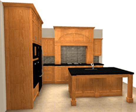 Perspective of cherry craftsman kitchen