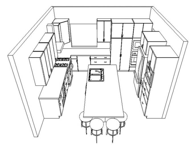 Black line perspective  of a kitchen that has 10 functional design errors.