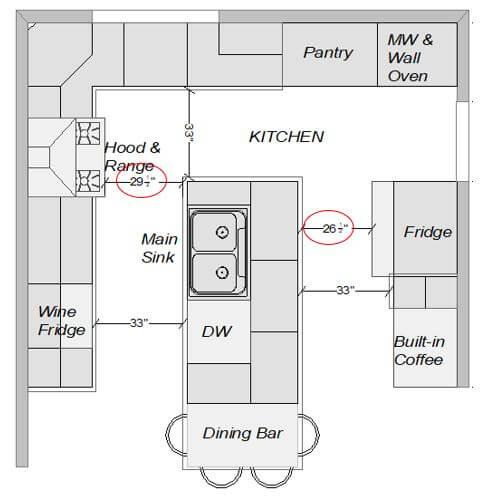 Floorplan showing true depth of appliances