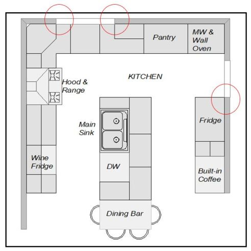 Floorplan showing room was not left for door and window  casings.
