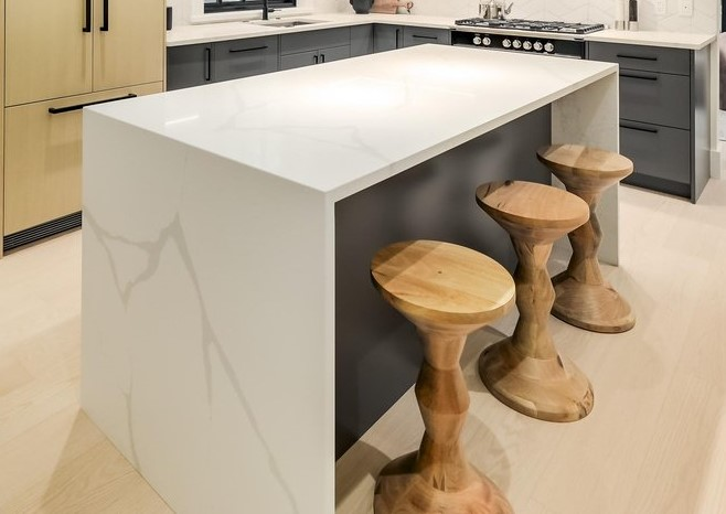 waterfall counter supports dining bar