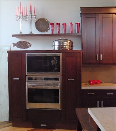 mid-height cabinet housing double oven