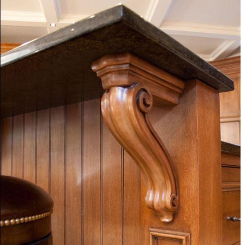 carved corbel as a dining shelf bracket