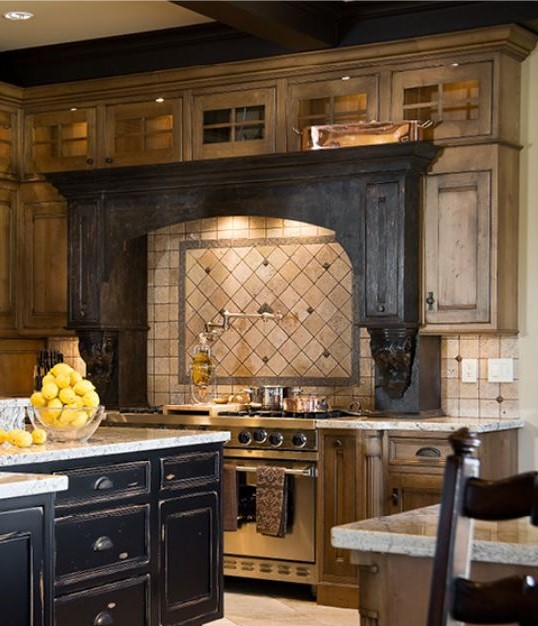 Wood stained cooking hearth