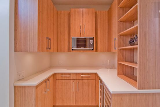 wood stained butler's pantry