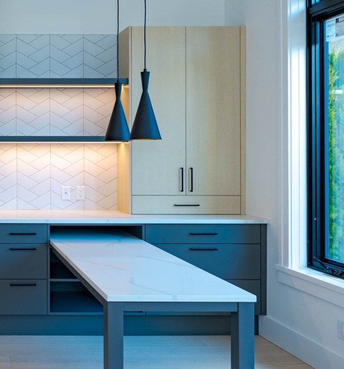 floating shelves and cabinet to the counter