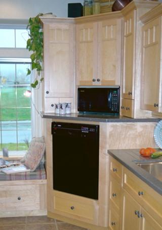 raised dishwasher in corner