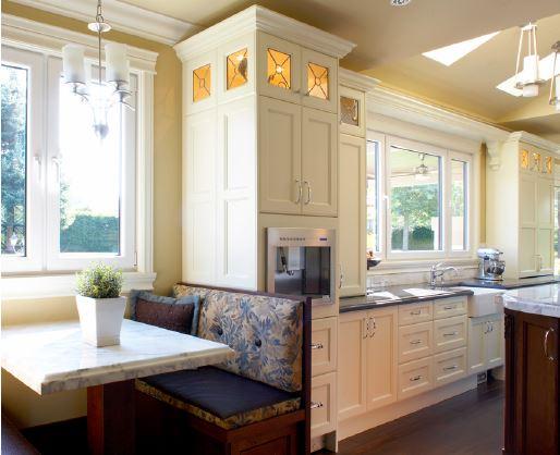 white kitchen with coffee center