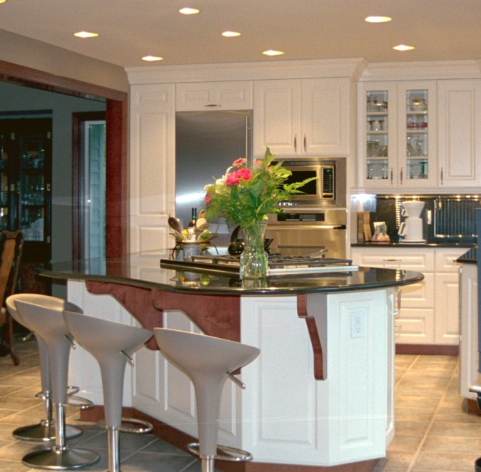 white kitchen with dining bar