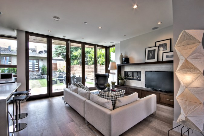 Family room with accordion doors