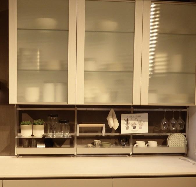 metal storage shelves in backsplash