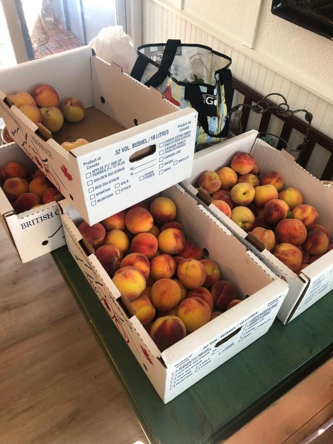 produce on kitchen table