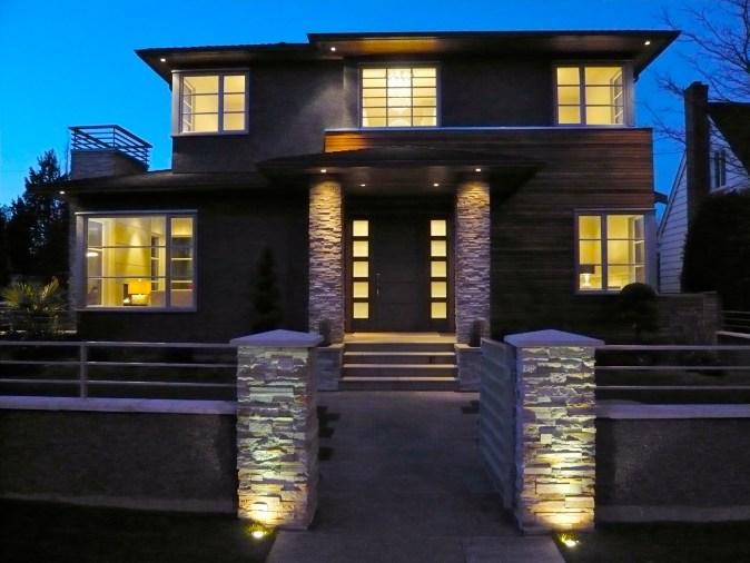 Façade of high end spec home influences the interior design.