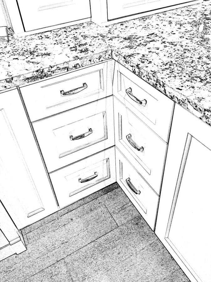 closed corner drawers