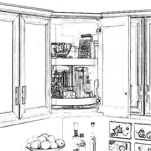 revolving baskets in corner wall cabinet