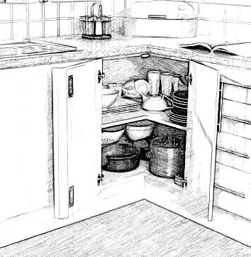Double door base corner cabinet
