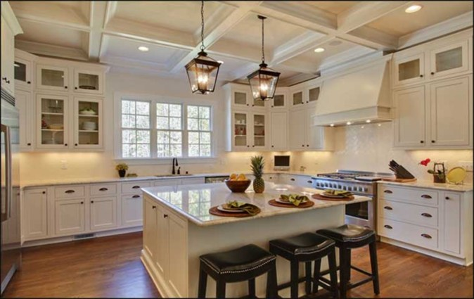 U-shaped kitchen with center island
