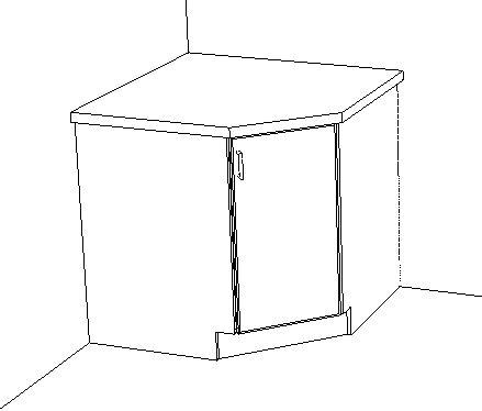 base corner angled cabinet