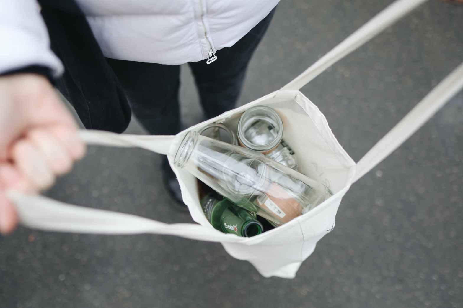 glass bottles in bag