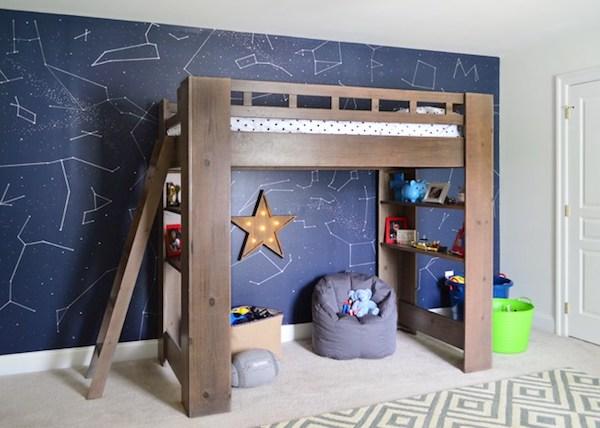 Quarto infantil parede desenhos constelações