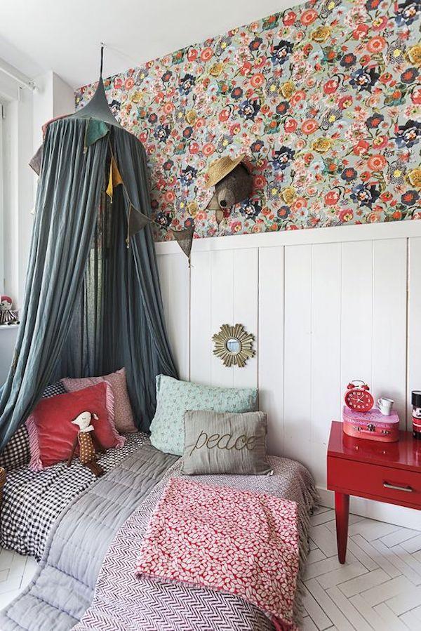 papel de parede florido meia parede