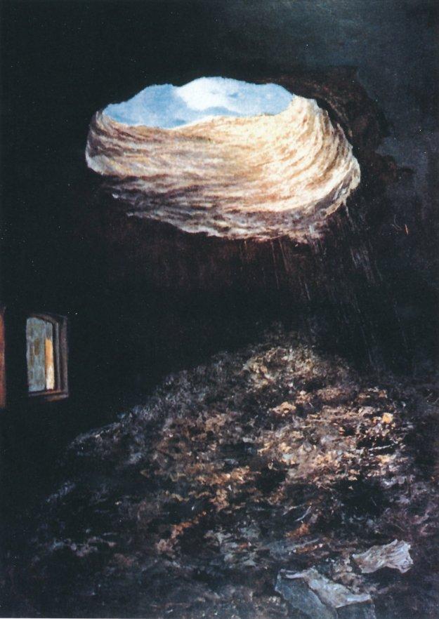 Doorslag 30,5 cm granaat binnenzijde op fort Broechem