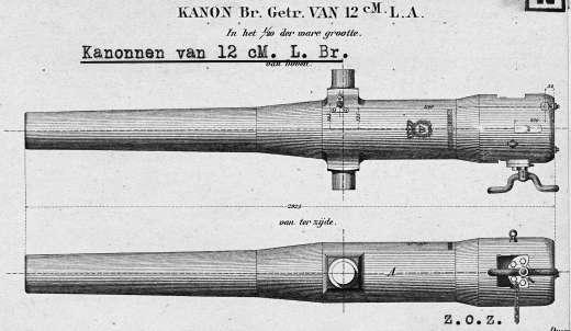 Kanon 12cm lang brons tekening