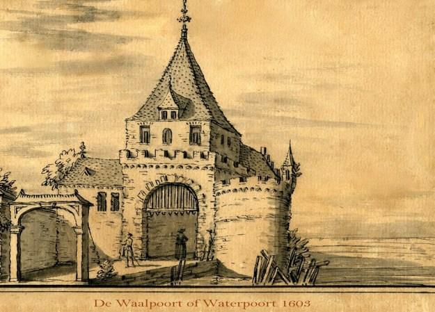 Waalpoort of Waterpoort 1603 pentekening