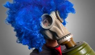 man with blue wig
