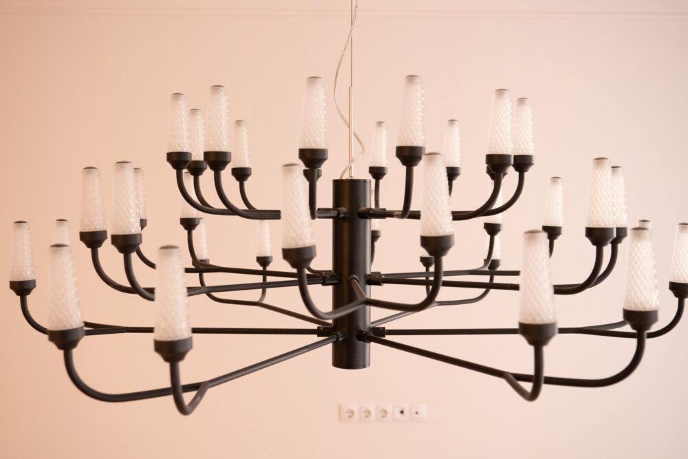 white and black chandelier