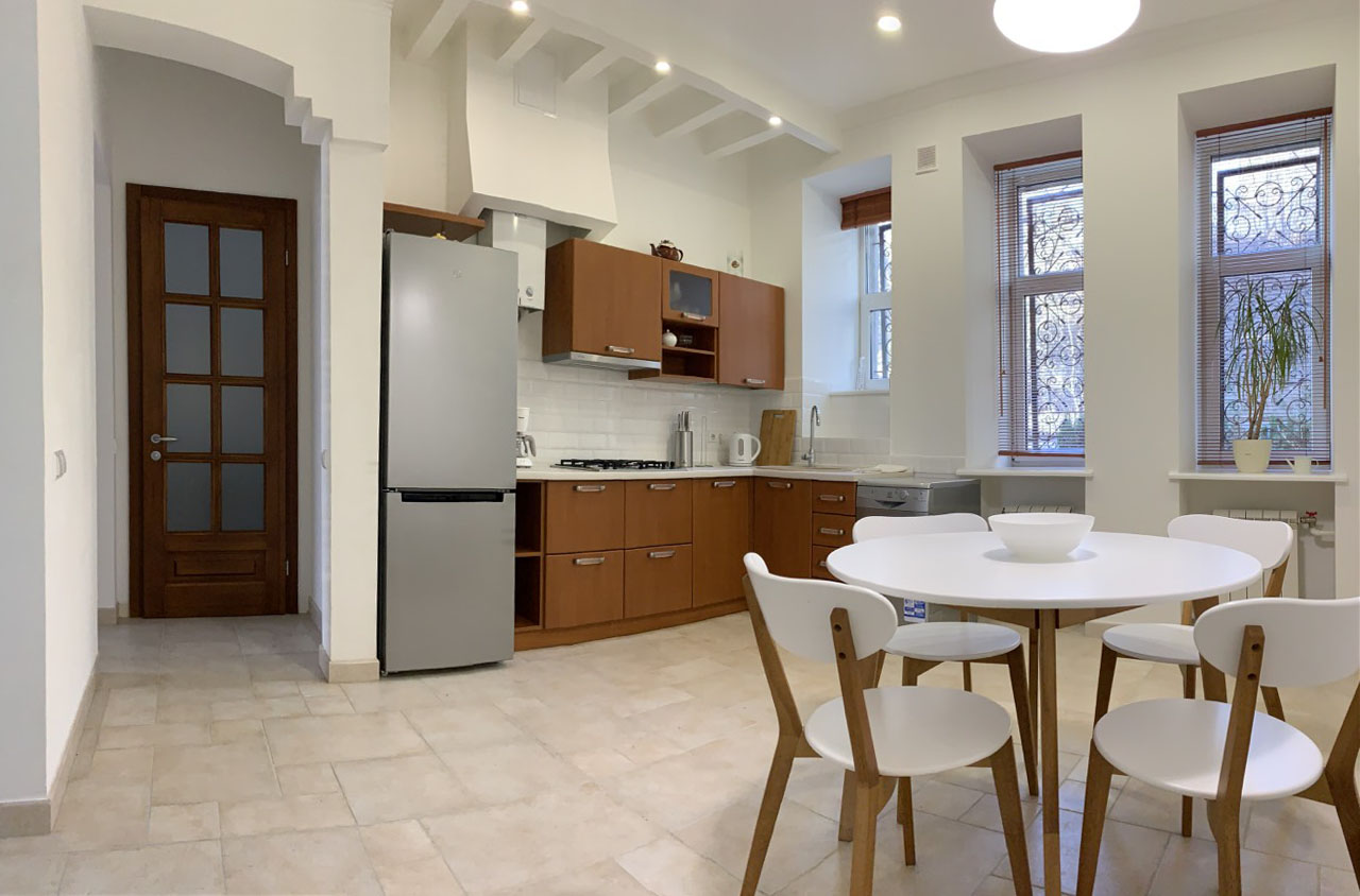 bright kitchen in white and brown colours