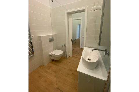 white bathroom with the toilet
