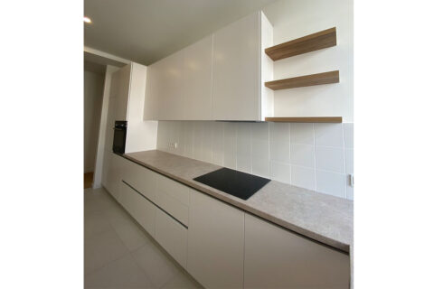 white kitchen with electrical plate