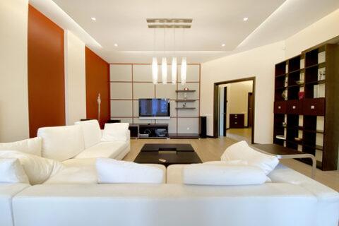 white sofa and tv