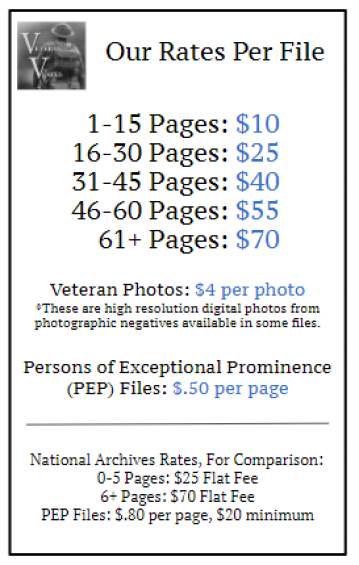 Veteran Voices Military Personnel File Rate Guide