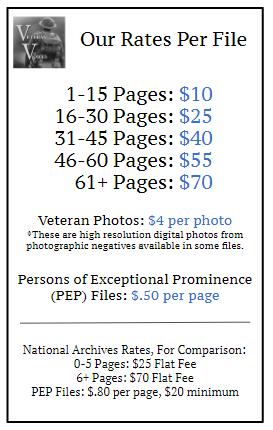 Military Records Retrieval Price Guide