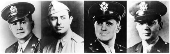 Four Chaplains: Lt. Fox, Lt. Goode, Lt. Poling, Lt. Washington