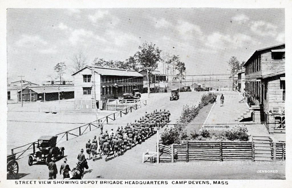 """""""Street View Showing Depot Brigade Headquarters, Camp Devens, Mass."""" World War"""