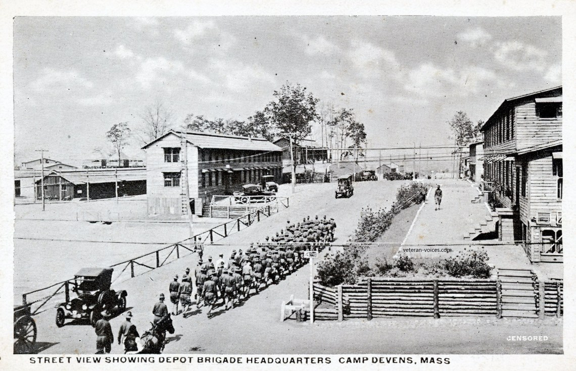 """Street View Showing Depot Brigade Headquarters, Camp Devens, Mass."" World War"