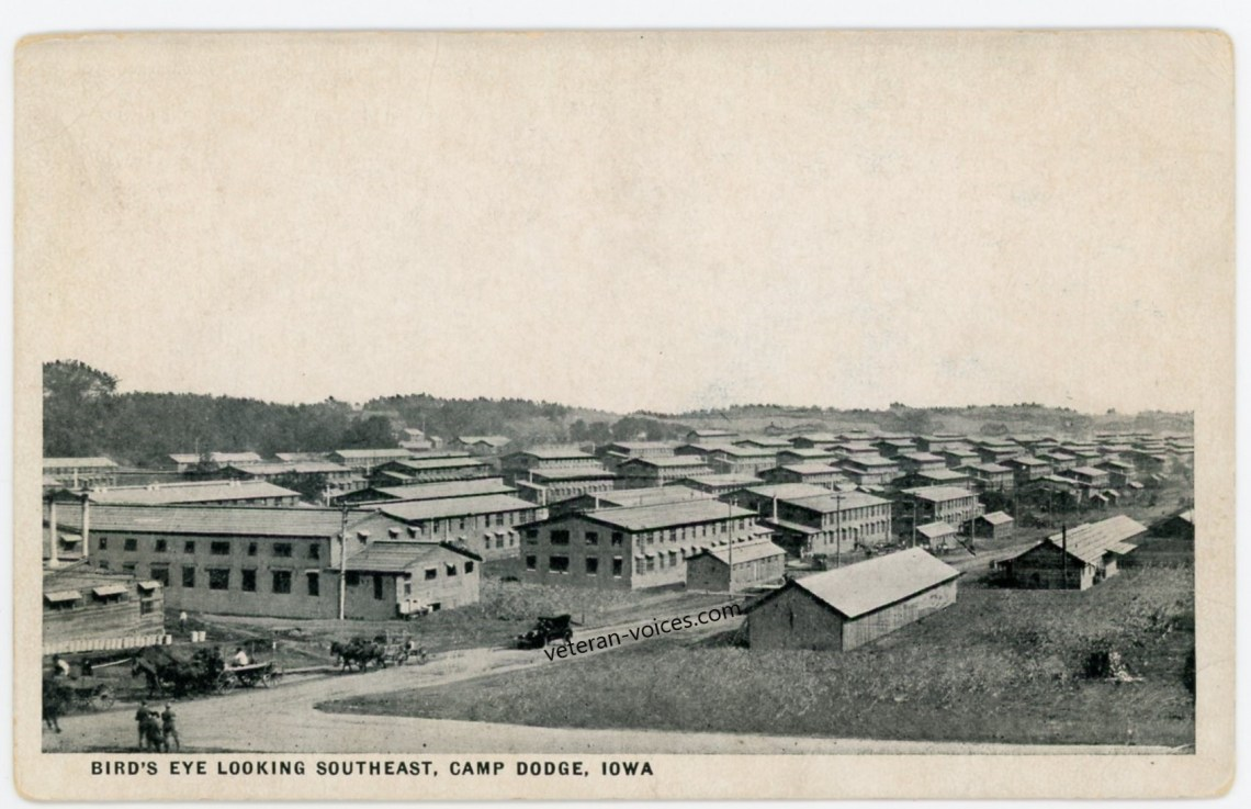 """Bird's Eye Looking Southeast, Camp Dodge, Iowa"" World War I"