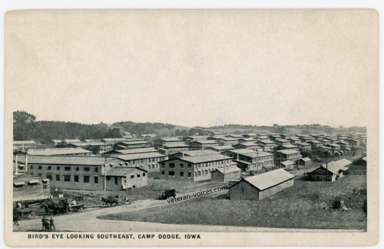 """""""Bird's Eye Looking Southeast, Camp Dodge, Iowa"""" World War I"""