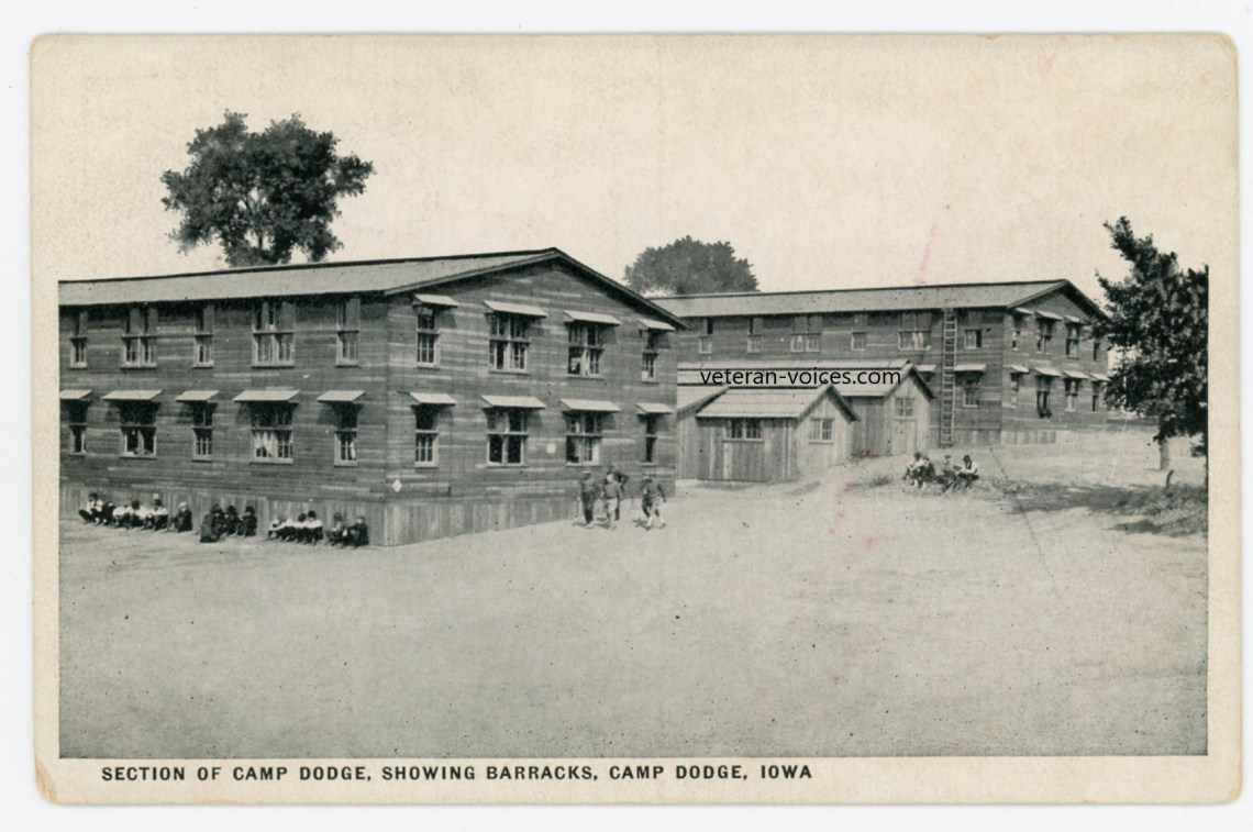 """Section of Camp Dodge, Showing Barracks, Camp Dodge Iowa"" World War I"