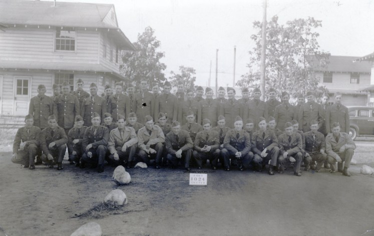 """""""Fort Custer 1024"""" - A training platoon or company real photo postcard from World War II."""