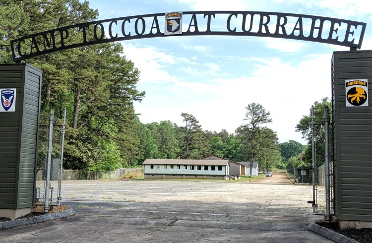 The camp entrance gate at Camp Toccoa, Georgia.