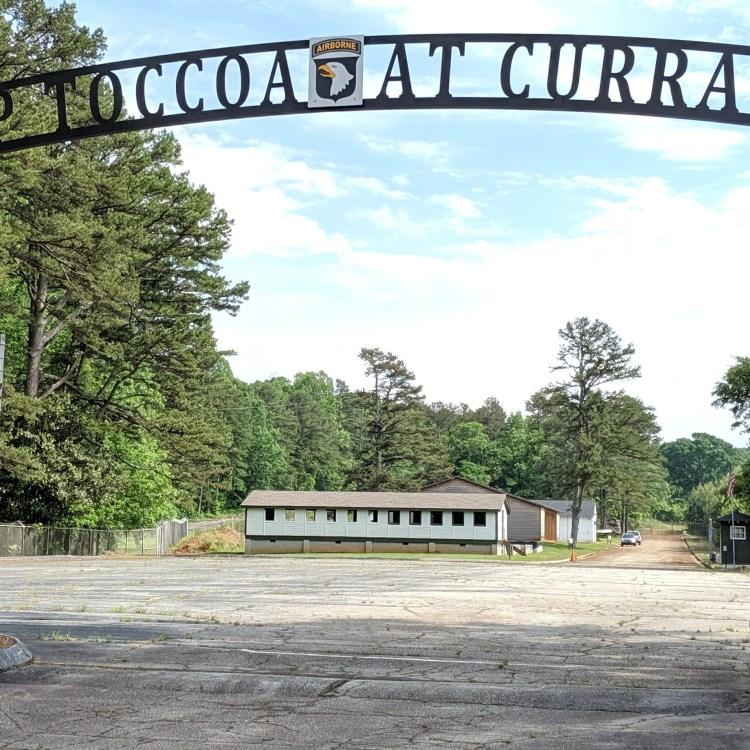 The camp entrance gate at Camp Toccoa, Georgia.