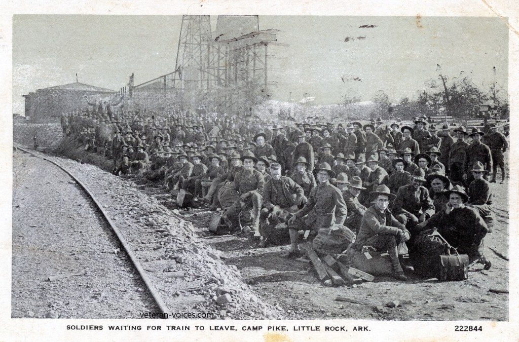 """Soldiers Waiting For Train To Leave Camp Pike, Little Rock, Ark."""